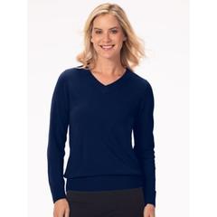 Women's Appleseed's Spindrift V-Neck Pullover, Classic Navy Blue XL Misses