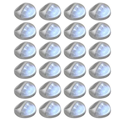 vidaXL Solar-Gartenwandleuchten LED 24 Stk. Rund Silbern