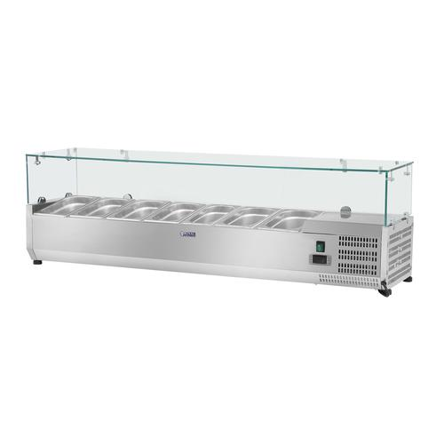 Royal Catering Kühlaufsatzvitrine - 150 x 33 cm - 7 GN 1/4 Behälter - Glasabdeckung RCKV-150/33-7