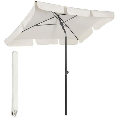 200 x 125 cm Sonnenschirm eckig Sonnenschutz UV 50+, Creme