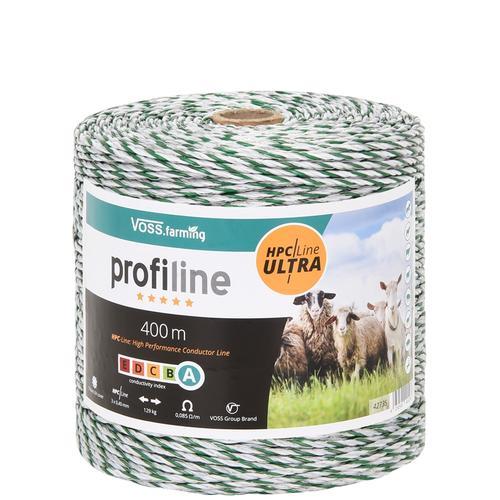 VOSS.farming Weidezaunlitze 400m, 3x0,40 HPC/Ultra, weiß-grün