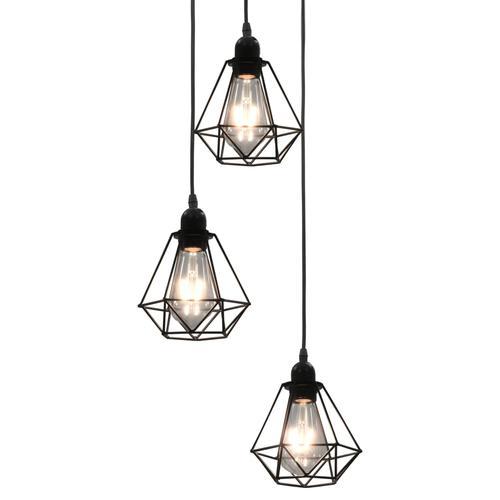vidaXL Deckenleuchte mit Diamant-Design Schwarz 3 x E27 Glühbirnen
