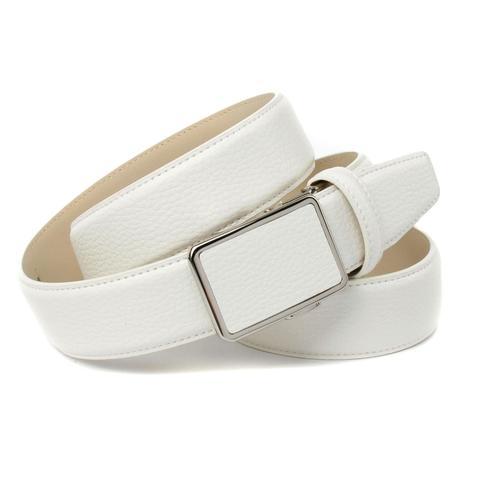 Anthoni Crown Ledergürtel, mit tonalem Stitching, leicht bombiert weiß Damen Ledergürtel Gürtel Accessoires