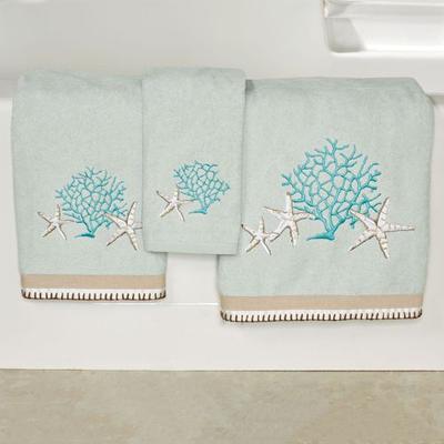 Beachcomber Bath Towel Set Celadon Bath Hand Fingertip, Bath Hand Fingertip, Celadon