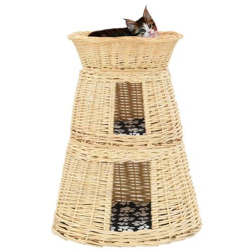 vidaXL 3-tlg. Katzenkorb-Set mit Kissen 47 x 34 x 60 cm Natur Weide