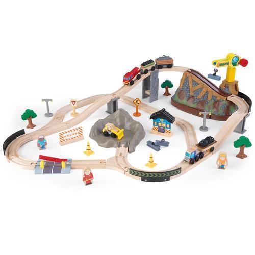 KidKraft Spielzeug-Eisenbahn Eisenbahnset Baustelle mit Aufbewahrungsbox bunt Kinder Ab 3-5 Jahren Altersempfehlung