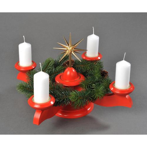 Albin Preissler Adventsleuchter Weihnachtsstern, Ø 29 cm, rot, inkl. Tannenkranz rot Kerzenhalter Kerzen Laternen Wohnaccessoires