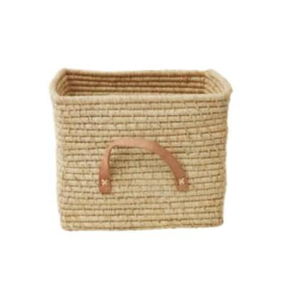 rice - Natural Raffia Basket with Leather Handles - Raffia   natural - Natural/Natural