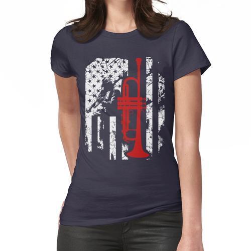 Trompete-Flagge amerikanisches T-Shirt Frauen T-Shirt