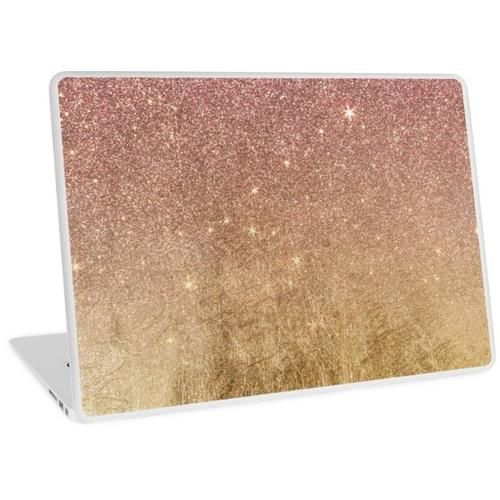 Rosa Rose Gold Glitter und Goldfolie Mesh Laptop Skin
