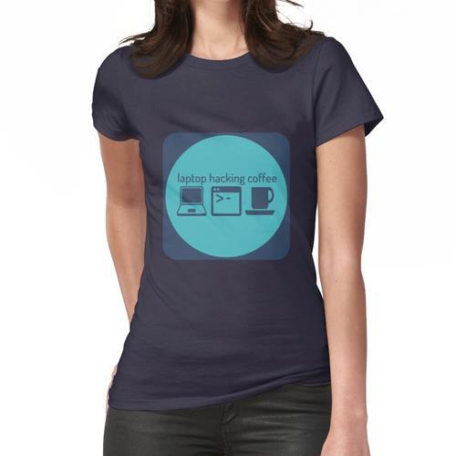 Laptop, der Kaffee zerhackt Frauen T-Shirt
