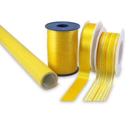 PRÄSENT Geschenkpapier Streifen, Geschenkpapier-Set, 4-teilig gelb Büroaccessoires Wohnaccessoires