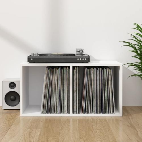 vidaXL Schallplatten-Aufbewahrungsbox Weiß 71×34×36 cm Spanplatte