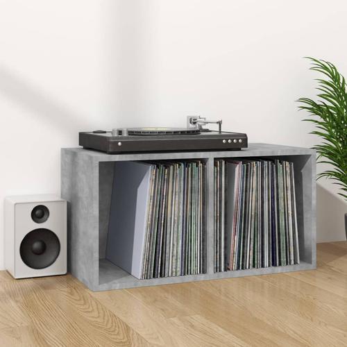 vidaXL Schallplatten-Aufbewahrungsbox Betongrau 71×34×36 cm Spanplatte