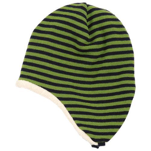 Reiff - Kid's Ohrenmütze Ringel Gr 54/56 schwarz/oliv/grün