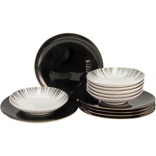 CreaTable Tafelservice Enjoy Black Style, (Set, 12 tlg.) schwarz Geschirr-Sets Geschirr, Porzellan Tischaccessoires Haushaltswaren