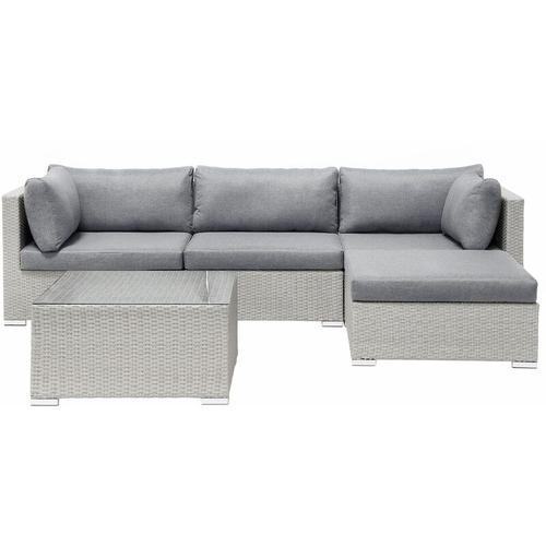 Lounge 4er Set Hellgrau Rattanoptik Grauen Bezüge Mit Sitzkissen Dekorativ Elegant Modern