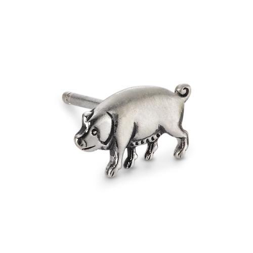Ohrstecker 1 Stk Silber patiniert Schwein