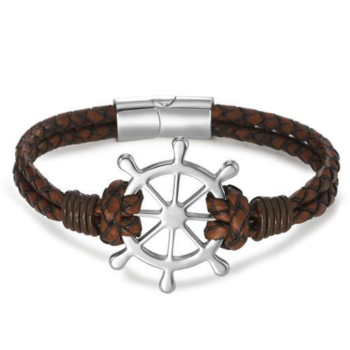 Armband Leder, Edelstahl Steuerrad 20 cm Ø35 mm