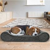 FurHaven Minky Plush Luxe Lounger Orthopedic Cat & Dog Bed w/Removable Cover, Gray, Medium