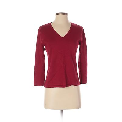 Kasper Pullover Sweater: Red Solid Tops - Size Small