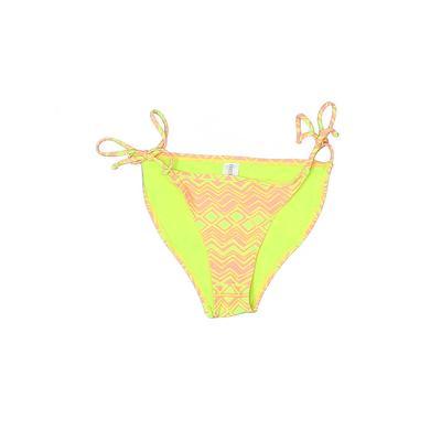 Forever 21 Swimsuit Bottoms: Green Chevron/Herringbone Swimwear - Size Small