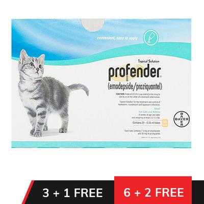 Profender Small Cats & Kittens 2.2-5.5 Lbs 6 + 2 Doses Free