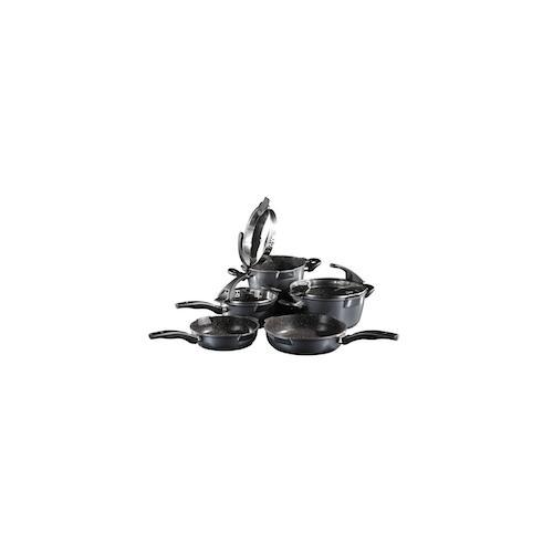 STONELINE® FUTURE Kochgeschirr-Set, 8-tlg., mit Sieb-Glasdeckeln