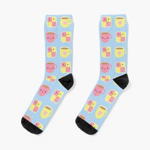Kawaii Battenberg Kuchen & Tasse Tee Socken