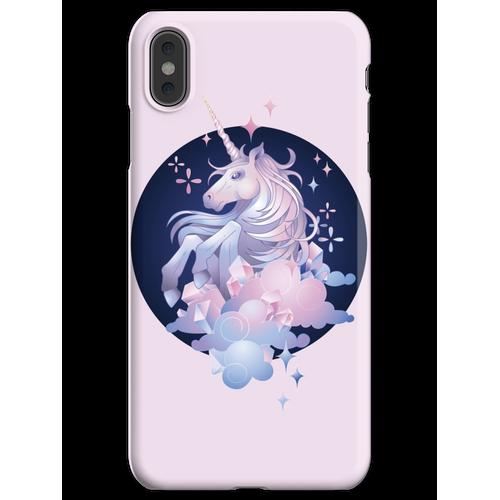 Pastellrosa und blaues magisches Kristalleinhorn iPhone XS Max Handyhülle