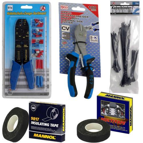 Km Crimpzange Isolierte Kabelschuh-sortiment Kabelbinder + Bgs Seitenschneider