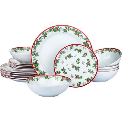 Retsch Arzberg Tafelservice Holly, (Set, 18 tlg.), Stechpalmen-Dekor weiß Geschirr-Sets Geschirr, Porzellan Tischaccessoires Haushaltswaren
