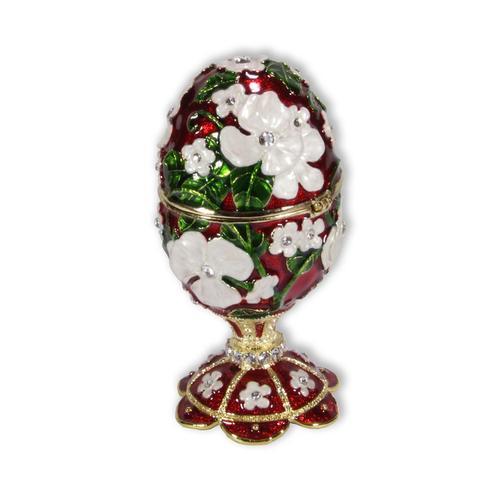 Schmuck Ei rot mit Spieluhr nach Faberge-Art aus emailiertem Metall