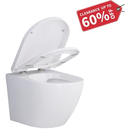 Homelody - Design Hänge WC | Spülrandlose Toilette | Wand-WC | WC-Set | Inkl.abnehmbaren WC-Sitz