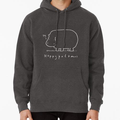Happypotamus - Pale print for dark t-shirts Pullover Hoodie