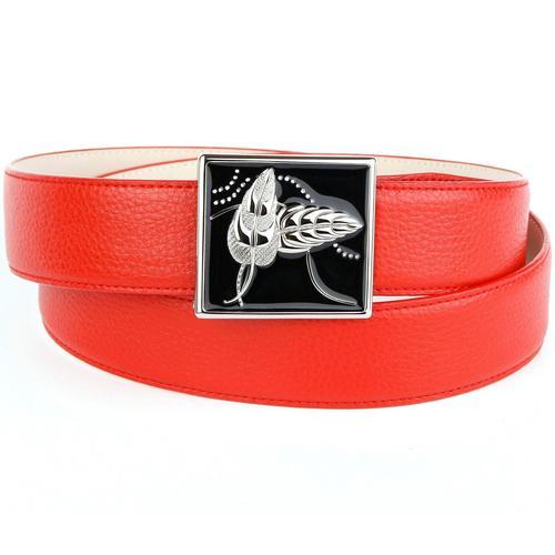Anthoni Crown Ledergürtel, mit handgefertigter Glasur-Schließe rot Damen Ledergürtel Gürtel Accessoires