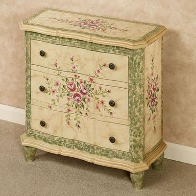Carissa Floral Storage Cabinet Ivory , Ivory