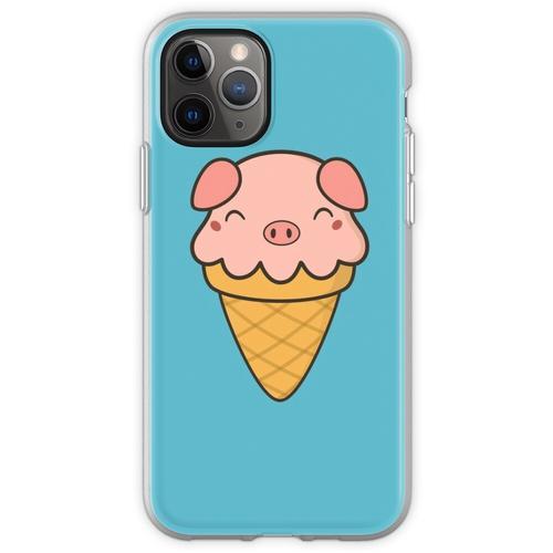 Appetitanregende Kawaii Cute Pig Ice Cream Flexible Hülle für iPhone 11 Pro
