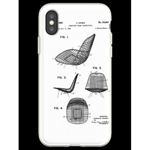 Eames - Draht Stuhl - Patent Artwork Flexible Hülle für iPhone XS