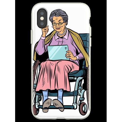 ältere Frau behinderte Person im Rollstuhl Flexible Hülle für iPhone XS