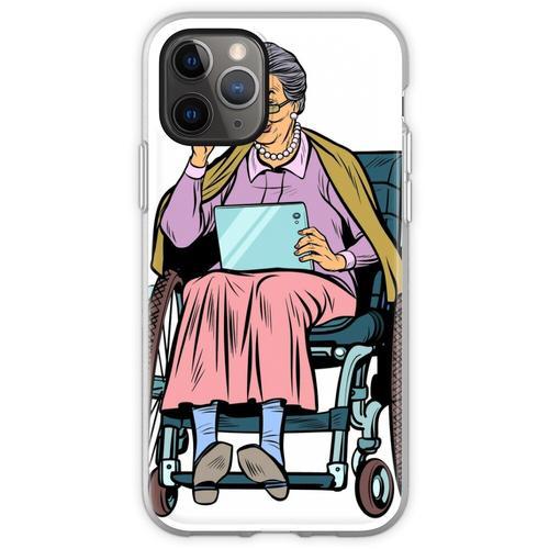 ältere Frau behinderte Person im Rollstuhl Flexible Hülle für iPhone 11 Pro