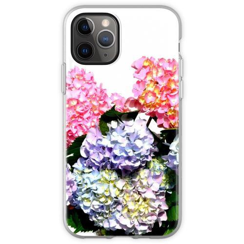 Rosa, lila und blaue Hortensien in Kristallvase Flexible Hülle für iPhone 11 Pro