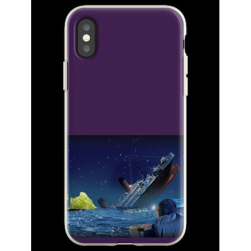 Titanic, der ein Stück Eisbergsalat schlägt Flexible Hülle für iPhone XS