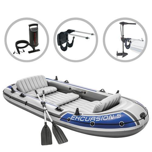 Intex Schlauchboot-Set Excursion 5 mit Trolling-Motor und Halterung