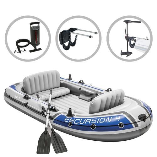 Intex Schlauchboot-Set Excursion 4 mit Trolling-Motor und Halterung