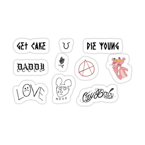 Set of Lil peep tattoos Sticker