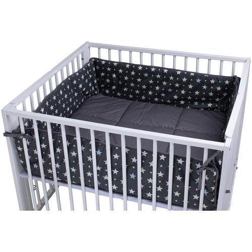 tiSsi Laufgittereinlage Moritz, Sterne grau, für Laufgitter 100x93 grau Baby Laufgittereinlagen Babygitter Babymöbel