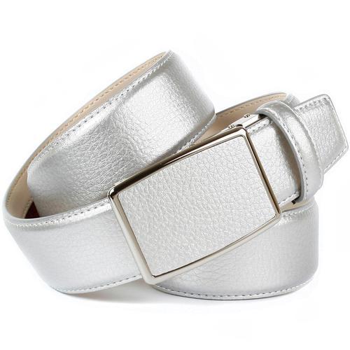 Anthoni Crown Ledergürtel, in Hirschprägung und glänzender Oberfläche silberfarben Damen Ledergürtel Gürtel Accessoires