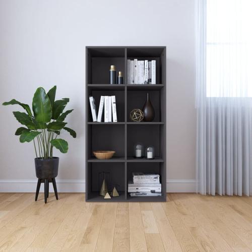 vidaXL Bücherregal/Sideboard Grau 66×30×130 cm Spanplatte