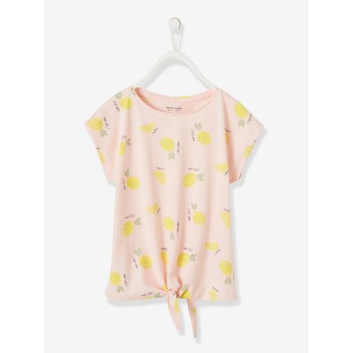 Mädchen T-Shirt Oeko Tex® rosa zitronen Gr. 92 von vertbaudet